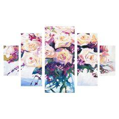 "David Lloyd Glover 'Roses in Glass'  Multi Panel Canvas Art Set 41x15x3"""