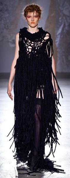 kind of a weird look,but i love it. recreate of mesh with the ribbons or fabric strips tied on where desired. think i would do just above the knee length, and with sleeves. cami underneath or a black bra for coverage.might be cool to mix in some metallic strands as well Fashion in Motion: Craig Lawrence 2012 V