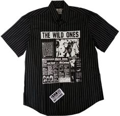 Men's M NWT FAMOUS STARS & STRAPS BLACK PINSTRIPE THE WILD ONES Button Shirt #FamousStarsStraps #GraphicTee