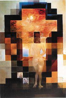 """Salvador Dalí. (Figueras,11 de mayo de 1904 – ibídem, 23 de enero de 1989) """"Gala contemplando el Mediterráneo"""". 1976. Óleo sobre papel. 4m x 1m Museo de Dalí."""
