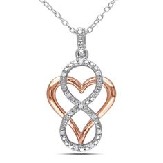 Miadora Two-tone Silver Diamond Heart Infinity Necklace | Overstock.com Shopping - Top Rated Miadora Diamond Necklaces