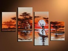 Cheap oil painting, Buy Quality handmade oil painting directly from China paintings on canvas Suppliers: African Life Style Lake Landscape Wall Art Picture Paint by Handmade Oil painting on Canvas for Living Room Decoration Small Canvas Paintings, Oil Painting On Canvas, African Art Paintings, Africa Art, Wall Art Pictures, Wall Art Decor, Canvas Wall Art, African Life, African Sunset