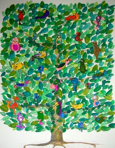 kids did bird drawings with instruction.  artists did tree background.  could have kids watercolor on paper, then cut out the leaf shapes.  love the lay out & varied leaf colors on this!