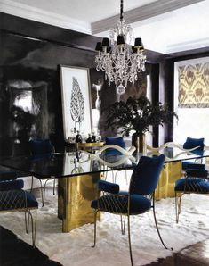 dining room, lacquer walls, velvet chairs, gold table