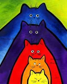 Cat Art Print Colorful Stacking Kitties Abstract Cat Art Whimsical Cat ACEO Art Cat Lover Cat Gift ACEO Print Denise Every DeniseEvery on etsy – colorful stacking kitties Arte Elemental, Frida Art, Cat Art Print, Cat Quilt, Art Mural, Cat Drawing, Whimsical Art, Art Plastique, Art Lessons