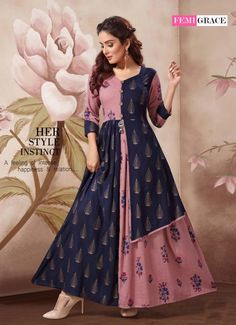 FEMIGRACE VOL 7 PRINTED RAYON LONG FLAIR READYMADE KURTIS COLLECTION AT WHOLESALE RATE Indian Gowns Dresses, Indian Fashion Dresses, Indian Designer Outfits, Designer Dresses, Stylish Kurtis Design, Stylish Dress Designs, Designs For Dresses, Long Dress Design, Dress Neck Designs