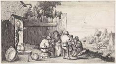 David Teniers (II) | Vijf boeren rond een ton, David Teniers (II), Anonymous, Anonymous, 1626 - 1740 | Vijf boeren verzameld rond een ton. Uit de poort rechts komt een vrouw lopen.