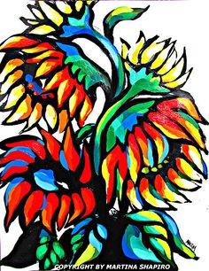 Seeking the Sun sunflowers original acrylic painting contemporary still life art by artist Martina Shapiro