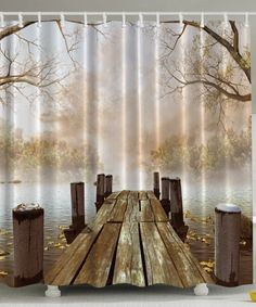 Ocean Decor Fall Wooden Bridge Seasons Mother Day Gifts Lake House Nature Country Rustic Home Brown Curtains Art Paintings Pictures for Bathroom Seascape Decorations Print Fabric Shower Curtain