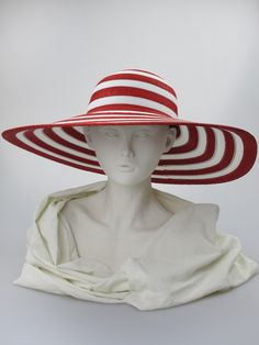 Wide-brimmed hat (front view) | Label: Philip Treacy | Red and white braided and sewn fine straw wide-brimmed hat. Summer wear | Made in England