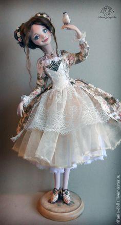 Купить Амели - кремовый, милое, птичка, очарование, весна, коллекционная кукла, оригинальный подарок, ЛивингДолл