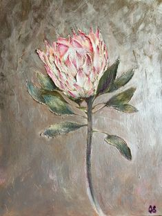 Protea flower painting Oil on canvas Abstract painting effect silver acrylic background Wall Protea Art, Protea Flower, Flower Oil, Oil Painting Abstract, Watercolor Paintings, Watercolours, Floral Drawing, King Art, Plant Art