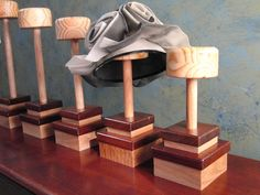 Items similar to Hat / Bowtie Stand in Craftsman Wooden Display Stand for Father's Fedora on Etsy Wooden Display Stand, Hat Display, Craft Show Displays, Shop Displays, Hat Storage, Hat Stands, Hat Shop, Craftsman Style, Jewellery Display