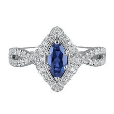 TRULY™ Zac Posen Blue Sapphire & 1/2 ct. tw. Diamond Engagement Ring in 14K Gold