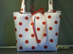 Red and White Polka Dot Tote Purse Handbag by KAZshopz on Etsy, $25.00