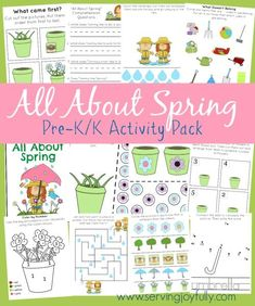 Serving Joyfully has created a free spring-themed printables pack for pre-k/k ages.  This package contains more than 25 pages of activities in