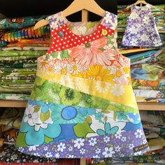 Rainbow pinny – handmade girls dress – dream a little girls dresses – fabric Little Dresses, Little Girl Dresses, Girls Dresses, Pinny Dress, Baby Dress, Kids Dress Up, Sewing For Kids, Baby Sewing, Clothing Patterns