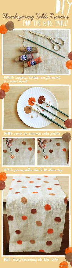 Paint a burlap runner. | 30 Cute And Clever Ways To Decorate For Thanksgiving