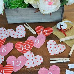 Valentine Countdown - Free printable with 14 days of activities filled with love. #Valentine's #valentine #decoration #free #download #printable #hears #red #pink #advent #calendar #love #activities #kids