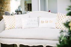 love the gold polka dot throw pillows!