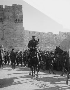 Photograph of General Allenby as he enters Jerusalem. The photograph was taken in December He is pictured at the Jaffa Gate. Allenby's success was due in large part to the efforts of T. Lawrence, AKA Lawrence of Arabia. Old Pictures, Old Photos, Vintage Photos, World War One, First World, Transformers, Naher Osten, Lawrence Of Arabia, Ottoman Empire