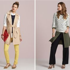 Love the whole first look - yellow pants, lovely layers with white, navy, and sleeveless trench!!  Inspiration Gallery | Stitch Fix Style