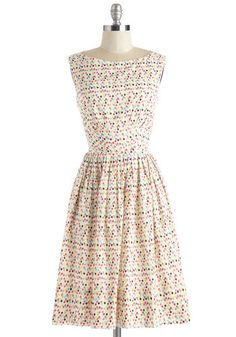 Daytrip Darling Dress in Confetti. When you only have one day away, make it count in this festive ivory dress from hard-to-find British Brand, Emily and Fin! #multi #modcloth