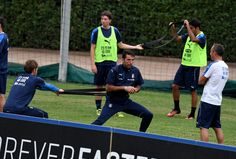 Gianluigi Buffon of Italy in action during the training session at the club's…