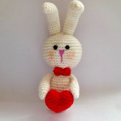 VALENTINES SALE, White bunny crochet with red heart, Crochet Rabbit with heart, Valentines gift, Bunny Rabbits
