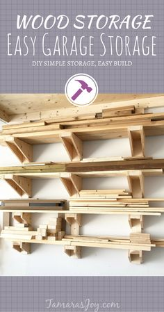 A Simple DIY Garage Lumber Rack that YOU can build! ⋆ Tamara's Joy Build a simple diy garage lumber rack with only some plywood, 2 by and screws. This easy diy garage lumber rack takes an afternoon to build. Lumber Storage Rack, Plywood Storage, Lumber Rack, Wood Rack, Garage Workshop Organization, Diy Workshop, Workshop Storage, Workshop Plans, Easy Garage Storage