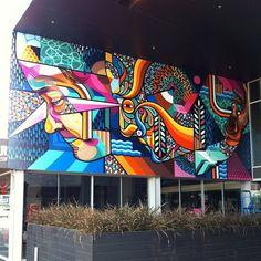Beastman ~ THE COLOMBO Finished wall with @vanstheomega in Christchurch NZ for #risefestival @oiyoustreetart #beastman #beastomega #selfportrait @ironlak #colombo #undergroundcafe 2013