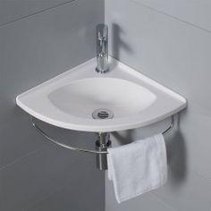 Vous recherchez un lave-main en angle et pratique ? Découvrez notre Salto avec son porte serviette !