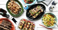 Starring four different kinds of kebabs, this versatile cookout menu is worth firing up your grill (or grill pan) for. Meat Recipes, Indian Food Recipes, Dinner Recipes, Ethnic Recipes, Cookout Menu, Summer Grilling Recipes, Grilled Beef, Outdoor Food, Kitchens