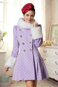 Cheap Fashion O Neck Long Sleeves Double-breasted Fur Patchwork Purple Long Wool&Blends
