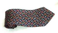 Tommy Hilfiger Necktie Royal Crest Silk Red Blue White Classic Two Tone Crown Cameo Preppy Geometric Mens casual formal Holiday gift tie by MushkaVintage3 on Etsy