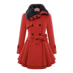 Women's Fashion Fur Collar Long Sleeve Coat with Belt ($53) ❤ liked on Polyvore featuring outerwear, coats, red coat, belted coat, red wool coat, coat with belt and fur-collar wool coats