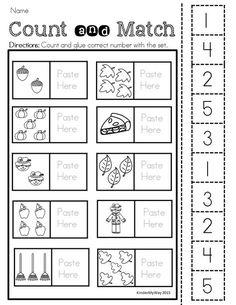 Preschool: Preschool Printables Preschool: Preschool Printables – Fall Printable … - Crafts for Kids Numbers Preschool, Fall Preschool, Preschool Printables, Preschool Lessons, Preschool Kindergarten, Preschool Learning, Kindergarten Worksheets, Teaching Math, Preschool Activities