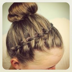 Waterfall headband into a bun. Tutorial at http://www.cutegirlshairstyles.com/5-minutes/waterfall-braid-headband-combo-braided-hairstyles/