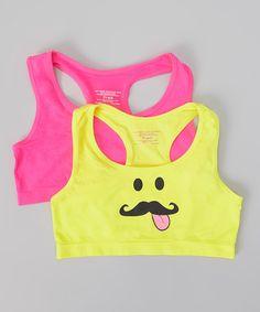 Look what I found on #zulily! Pink & Yellow Mustache Racerback Sports Bra Set - Girls by René Rofé #zulilyfinds