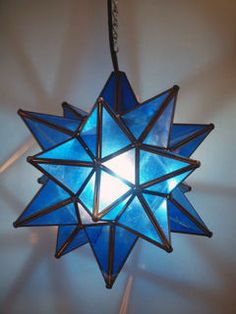 Mexican Blue Glass Star Lantern: Large