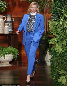 Cate Blanchett in a suit from Roksanda's resort 2015 collection - interview with Ellen- March 2015
