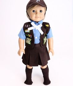 Brownie Scout Uniform - clothes for American Girl® and other 18 inch dolls - girl scouts, brown, skirt, vest, badges