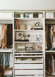 We transformed one of our spare bedrooms into a cloffice and it turned out to be so dreamy! Giving you all the closet inspo in this post! Spare Bedroom Dressing Room Ideas, Spare Room Walk In Closet, Spare Bedroom Closets, Spare Bedroom Office, Bedroom Closet Design, Closet Designs, Ikea Pax Closet, Small Closets, Bed Styling