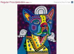 50% Off- Boston Terrier Art PRINT Art  Art Print Poster by Heather Galler Heather Galler (HG201)