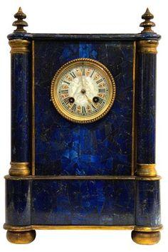 French Mantel Clock with Lapis Lazuli Veneer