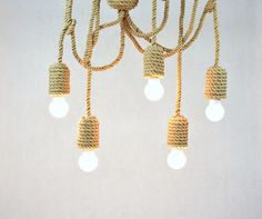 Jute long pendant light made from sailing rope 200cm 80 by StyLova