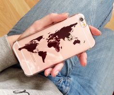 Carte du monde transparent coque Transparent coque par CRCases