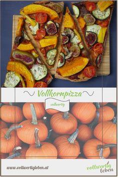 Warum auf Pizza verzichten, wenn man sich vollwertig ernährt? Die Vollkornpizza schmeckt nicht nur sensationell, sondern macht lange satt und ist auch kalt gegessen noch der Renner. Mit einem Blech davon kommt man mehrere Mahlzeiten aus – ich liebe dieses Gericht einfach. #vollkornpizza #pizza #vegetarisch #rezept #rezepte #diy #vollwertig #vollwertkost #vollkorn #getreide #vegetarischepizza #vitalstoffreich #gemüse #kürbis Pizza Und Pasta, I Like Pizza, Carrots, Pumpkin, Teller, Vegetables, Sweet, Recipes, Dinner