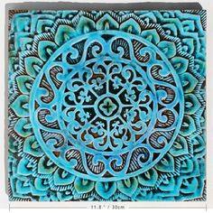 mandala wall hanging turquoise  ceramic pottery  textured by GVEGA