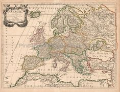 Original Europe Antique Map Sanson 1683 for sale. Free shipping to the USA and low shipping rates worldwide.